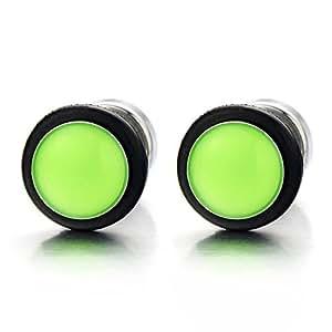 9MM Vert Fluorescent Cercle Boucles d'oreilles Homme Femmes - Bouchon d'oreille - Jauge d'oreille Faux Cheater Fake