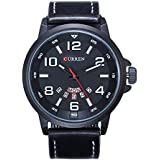 Curren 8240 Men's Sports Waterproof Analog Leather Strap With Date Display Wrist Watch - White