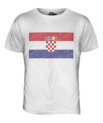 CandyMix Kroatien Kritzelte Flagge Herren T Shirt Weiß