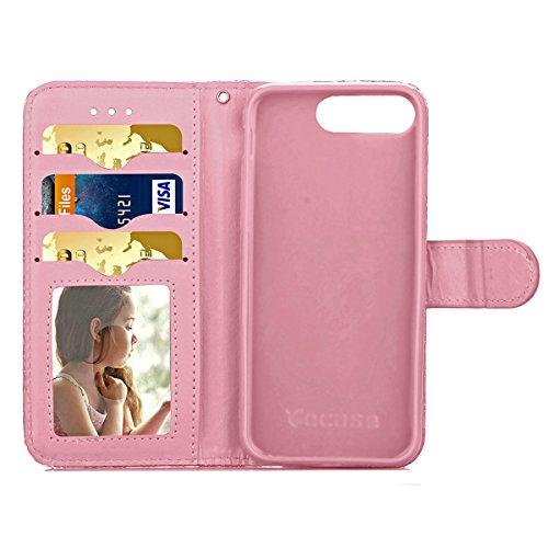 iPhone 7 Plus Coque, Apple iPhone 7 Plus Coque, Lifeturt [ Rose ] Motif Pure Couleur Housse en Cuir Case à Avec La Fonction Stand Coque de Intérieure Protection Souple Coque Portefeuille TPU Silicone  E2-Rose