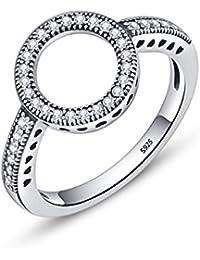 Plata de Ley 925voroco Forever claro CZ círculo Ronda dedo anillos para las mujeres boda compromiso joyas