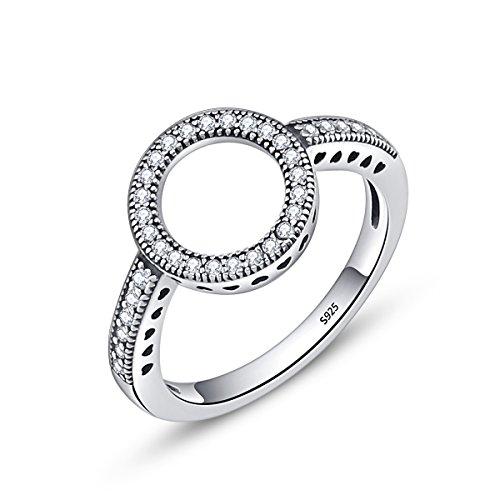 Cz Halo Verlobungsring (Presentski 925 Sterling Silber Infinite Hearts Halo Ring mit CZ für Frauen Damen Mädchen Valentines Geschenk)