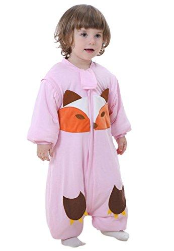 Preisvergleich Produktbild Happy Cherry Unisex Baby Schlafsack mit abnehmbare Ärmel Kind Baumwolle Overall Winter Pyjamas Mädchen Jungen Cartoon Fuchs Nachtwäsche Einteiler Schlafanzug für Kinderparty Asiatische Größe L - Rosa