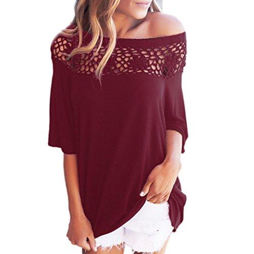 OVERDOSE Damen Spitze Weg vom Schulter-Beiläufige Kurze Hülsen-T-Shirt Spitzenbluse (S, A-X-Rot)