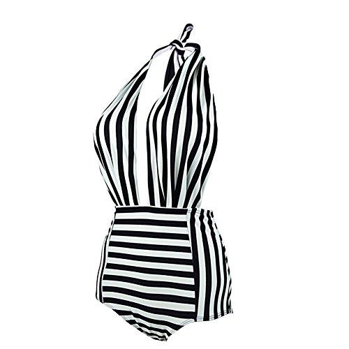 Fitibest Strand Damen Bikini Bade Sexy Badebekleidung Tankini Schwarz Weiß Black