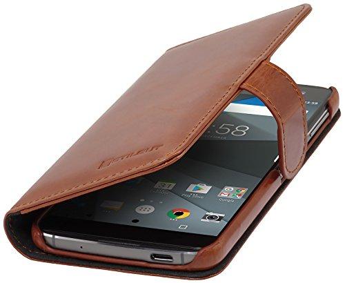 StilGut Talis Schutz-Hülle für BlackBerry DTEK60 mit Kreditkarten-Fächern aus echtem Leder, Cognac