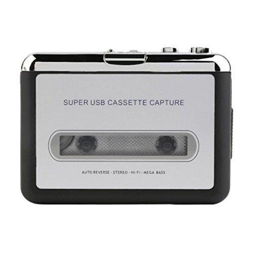 D DOLITY USB 2.0 Kassette zu MP3 Konverter Tragbarer Kassettenrecorder Rekorder Tape-zu-MP3 Audio Musik Player mi USB Kabel + Kopfhörerkabel (Kassette-zu-usb-konverter)