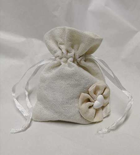 12 pz sacchetti stoffa juta panna con gessetto portaconfetti dim 8x h10 cm 4419les