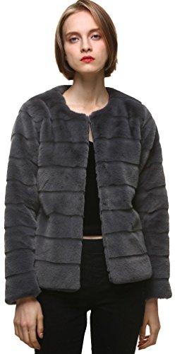 Vogueearth Damen'Faux Pelz Pelzimitat Kunstfell Rex Kaninchen Herbst Winter Mantel Jacke XS/S Dunkel Grau (Damen Kaninchen Jacke Pelz Mantel)