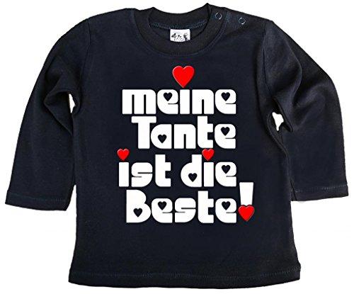 Dirty Fingers Dirty Fingers, Meine Tante ist die Beste!, Mädchen T-Shirt langärmlig, 3-6 m, Schwarz