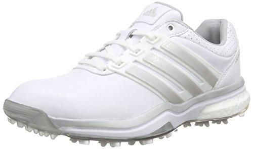 adidas Adipower Boost 2, Chaussures de Golf Femme, Blanc-Weiß (White/Matte Silver/Dark Silver Metallic), 41 1/3 EU