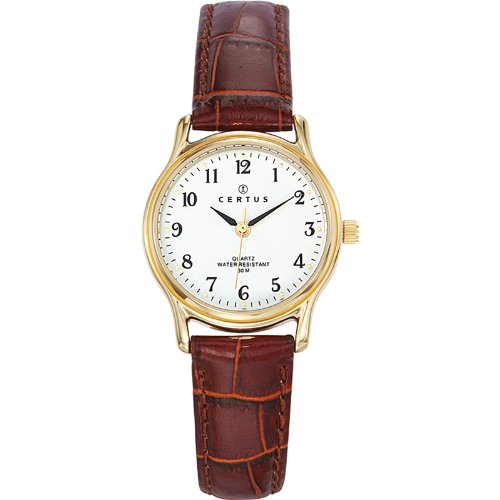 Certus - 646239 - Women's Watch - Analogue Quartz - White dial - Brown Leather Strap