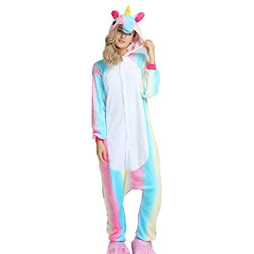 oamore Einhorn Pyjama Cartoon Tiere Pyjama Cosplay Kostüme Flanell Jumpsuits Unisex Erwachsene Kinder Nachtwäsche Party Kostüme (Bunt, XL)