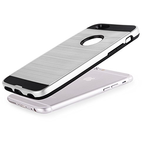 EGO® Hard Case Schutz Hülle für iPhone 6 6s, Grau Metallic Effect Aluminium Brushed Handy Cover Schale Bumper Etui Silber