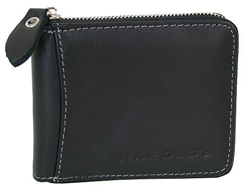 Schlanke, handliche Herren Echt-Leder Geldbörse mit Münzfach und umlaufendem Reißverschluss (Schwarz) -