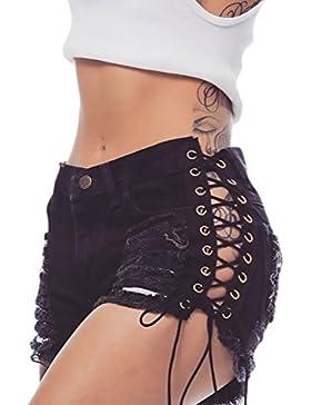 Pantaloncini Donna Jeans Pantaloni Corti Estate A Vita Alta Slim Fit Strappy Hip Hop Moda Giovane Casual Denim...