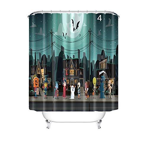 Duschvorhang Halloween Badewanne Vorhang Anti-Bakteriell, Waschbar, Wasserdicht PEVA inkl. 12 Duschvorhangringe für Badzimmer - Stil 4 150x180cm ()