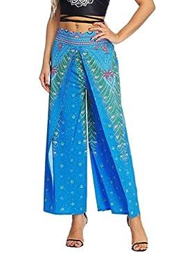 Mujer Pantalones Baggy Verano Vintage Etnica Estilo Floreadas Pantalones Aladdin Elegantes Anchas Abiertas Fashion...