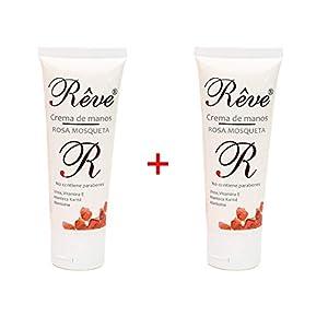 REVE Crema de manos rosa mosqueta enriquecida con Urea, Vitamina E, Karité y Alantoina. Rápida absorción, textura no grasa (PACK 2 UDS 50 ml)