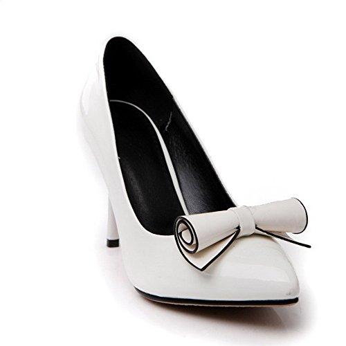 AllhqFashion Damen Rein Lackleder Stiletto Ziehen Auf Spitz Zehe Pumps Schuhe Weiß