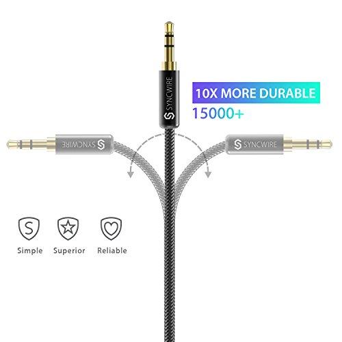 Aux Kabel 2m Syncwire 3.5mm Klinkenkabel - Audio Kabel für Kopfhörer, Apple iPhone iPod iPad, Smartphones, Echo dot, Heim/KFZ Stereoanlagen, MP3 Player und mehr - Nylon - 2