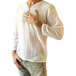 Hombre Blanco Camiseta 100% algodón tailandés Hippie Camisa Cuello Playa Yoga Top