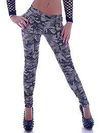 Damen Fitnesshose Sporthose Leggings Camoflage Jeggings Army Khaki
