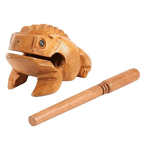 GLOGLOW Thailand Traditional Craft Wooden Lucky Frog Croaking Musical Instrument Creative Home Office Art Figurines Decor Miniatures Gift(12.7CM)