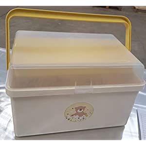 The neat nursery Teddy Bear Baby Box Organiser Cream and Yellow