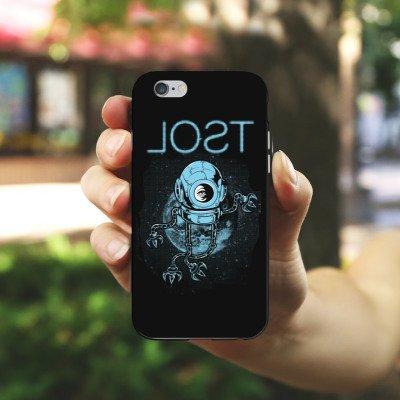 Apple iPhone X Silikon Hülle Case Schutzhülle Helm Weltraum Space Silikon Case schwarz / weiß