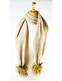 New style ribbed knitted fur pom scarf Beige