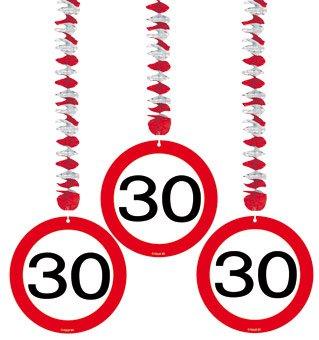 Spiralen Girlande 3 St. Verkehrsschild Zahl 30 Geburtstag Rotorspiralen