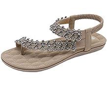 99772bde26 Qiusa Mode Frauen Böhmen Floral Strass Flachen Sandalen Outdoor Rutschfeste  Schuhe (Farbe : Khaki,