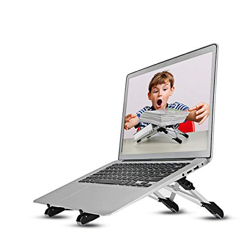 Soporte de Laptop PC Megainvo Ergonómica Apoyo Multifunción Portátil Notebook PC Plegable Soporte Altura/Angulo Ajustable Ligero Aleación de Aluminio PC/MacBook/Laptop/iPad/Tablet 3 en 1
