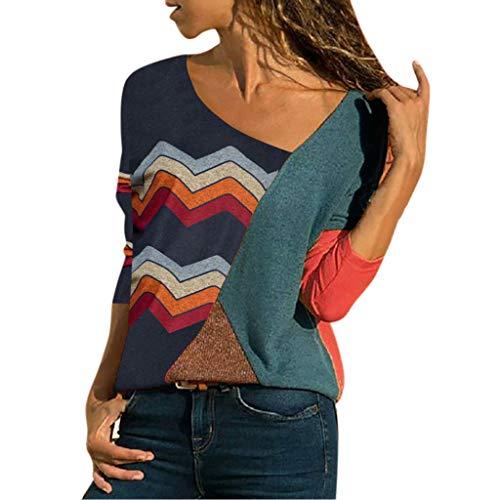 Binggong Chemisier Femme Manches Longues Shirt Rayures Verticales Col en V Top Multicolore S-XXL