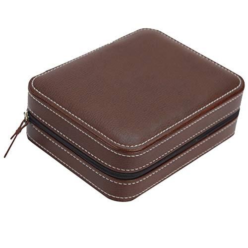 Hemobllo Leder Uhrenbox Fall Schmuck Display Organizer Box Luxus Armbanduhr Lagerung Inhaber mit Reißverschluss Vier Sätze (Kaffee) -
