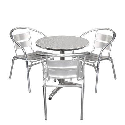 Aluminium Bistro-Set Balkonmöbel Stapelstuhl - 4tlg
