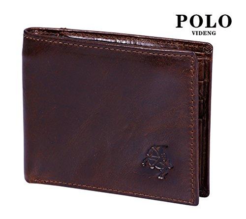 VIDENG POLO RFID Blockierung Bifold Wallet Echtes verrücktes Pferd Leder Geldbörsen zum Männer Jahrgang Legerer Stil (Braun-wc8) Braun-wc6