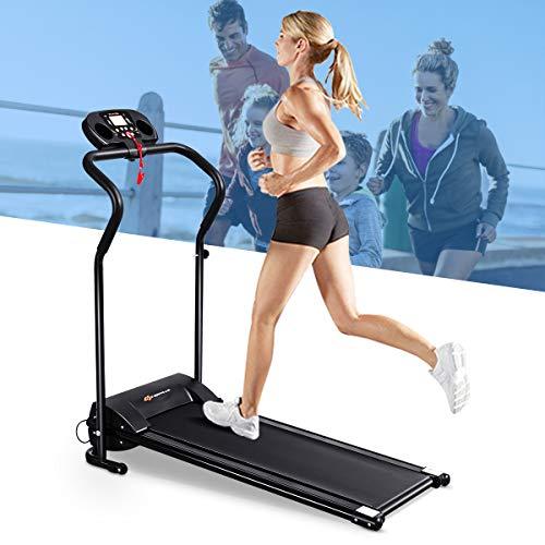 DREAMADE Elektrisches Laufband, Runner Fitnessgerät mit LED-Display, Leiser Heimtrainer Zusammenklappbar, Speedrunner zum Lauftraining, Schwarz