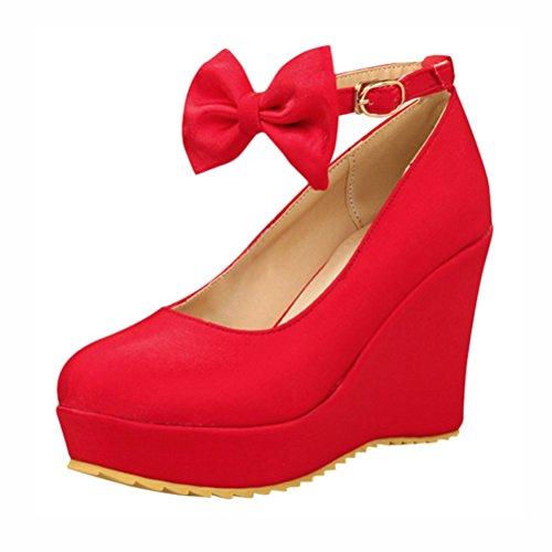 Agodor Damen Keilabsatz High Heels Plateau Knöchelriemen Pumps mit Schleife und Schnalle Rockabilly Ankle Strap Schuhe