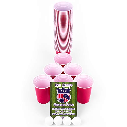 Evil Jared Hasselhoff Partybecher | College Red Cups | Beer-Pong Party-Zubehör Set | 50 Rote Party-Becher (480ml) + 4 Ping Pong Bälle + Spielregeln -