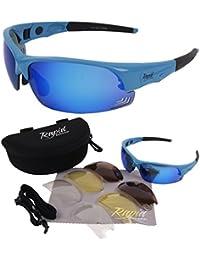 Edge Radbrille Blau RADSPORTBRILLE Polarisierte und Klare Wechselgläser: Rennradbrille Für Herren und Damen