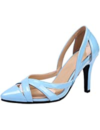 SHOWHOW Damen Glitzer Spitz Stiletto Cut Out High Heels Riemchensandalen Silber 41 EU