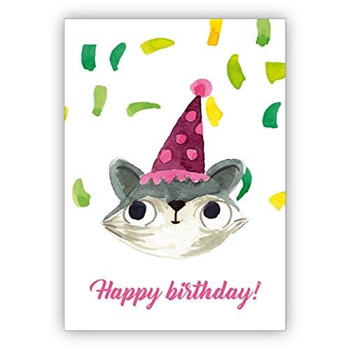 1 Lustige gemalte Geburtstagskarte mit Party Katze und Konfetti als Glückwunsch für das Geburtstagskind: Happy Birthday • auch zum direkt Versenden mit ihrem persönlichen Text als Einleger.
