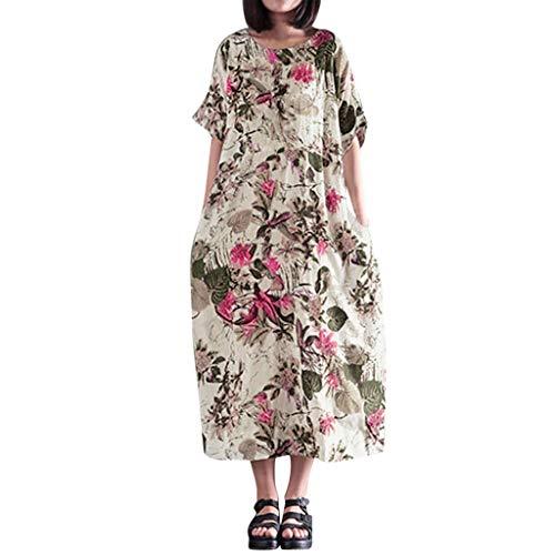 WUDUBE Robe Longue à FleursFemmes Été Floral A-Lin Robe Grande Taille