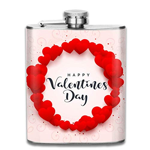 ct Happy Valentine's Day (3) Stainless Steel Hip Flask 7 OZ - Sneak Alcohol Anywhere for Man,Woman ()