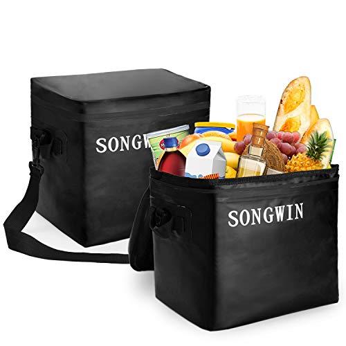 Songwin 28l grande borsa termica borsa da pranzo,cerniera impermeabile e 100% a prova di perdite,borsa frigo borsa termica isolata picnic borsa per barbecue,campeggio,viaggio.(nero/blu) (nero)