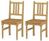 LifeStyleDesign 625044 Stuhl Rimini Doppelpack, Kiefer massiv, gebeizt gewachst, 96 x 49 x 41 cm