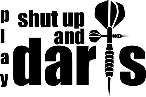 Krazz-Shirtz Dart Aufkleber, Darts Autoaufkleber, Darts Heckscheibenaufkleber (h=100 x b=150mm)(schwarz)