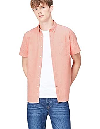 FIND Men's Shirt in Slim Fit Pure Cotton and Button Down, Orange (Mango), Small